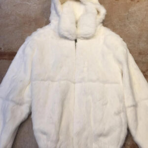 Winter White Rabbit Fur Bomber Jacket