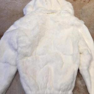Winter White Rabbit Fur Bomber Jacket