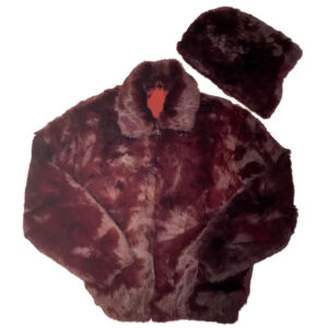 Winter Wine Rabbit Bomber Fur Jacket