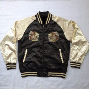 Yakuza Sukajan Souvenir Dragon Embroidery Satin Jacket