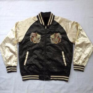 Yakuza Sukajan Souvenir Dragon Embroidery Satin Jacket