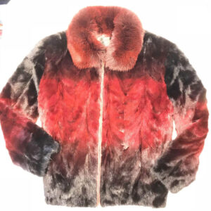 Ruby Red Two Tone Mink Tail Fur Jacket