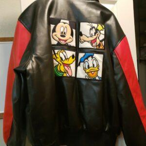 Vintage Walt Disney Mickey Goofy Donald Leather Jacket