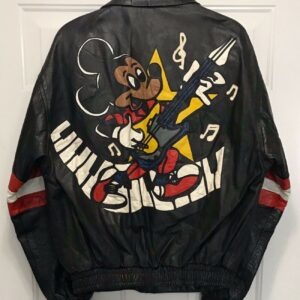Mickey Mouse Electric Guitar Vintage Leather Jacket