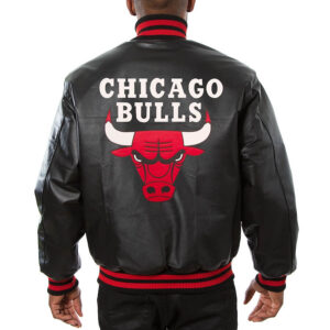 Black Chicago Bulls Leather Jacket