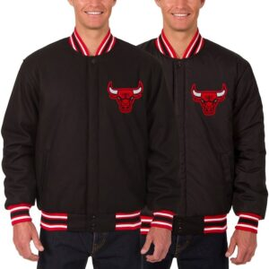 Black Chicago Bulls Reversible Wool Jacket