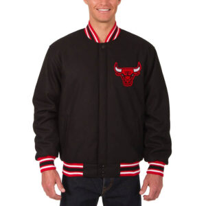 Black Chicago Bulls Reversible Wool Jacket
