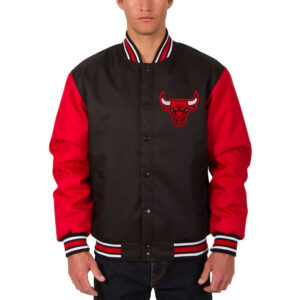 Black Chicago Bulls Satin Jacket