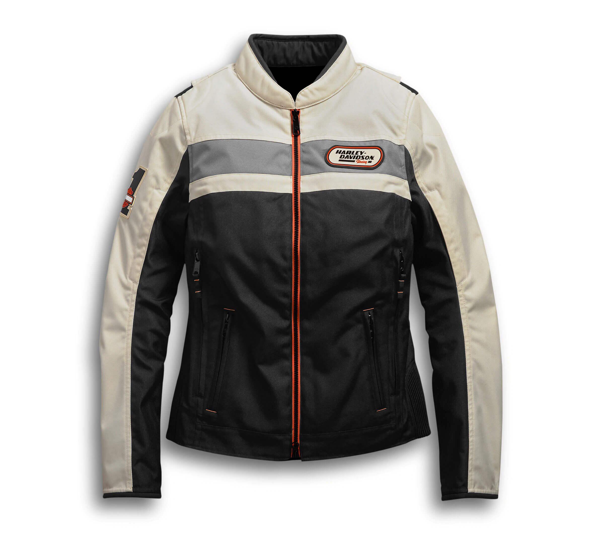 Black Cream Harley Davidson Motorcycle Leather Jacket
