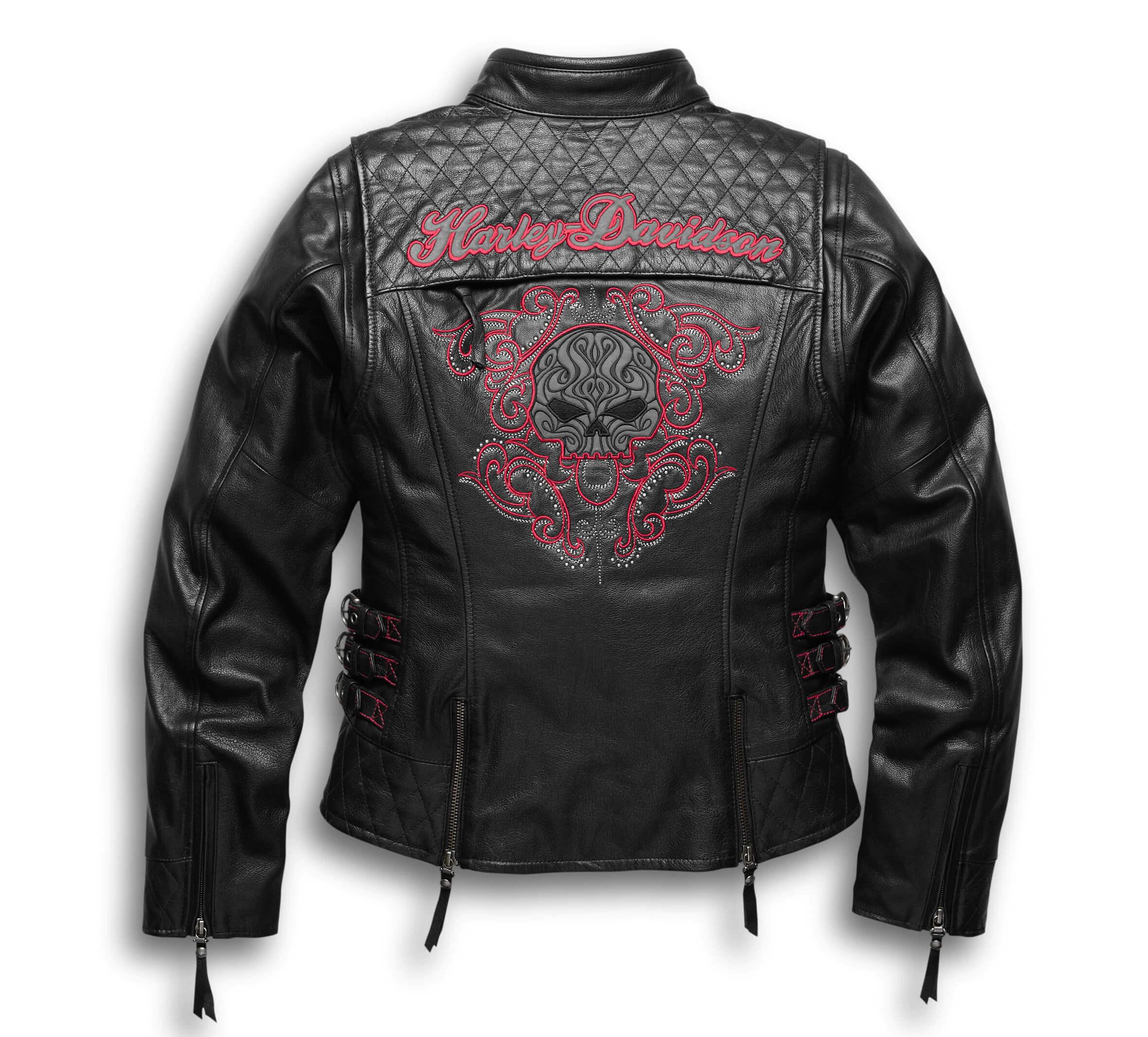 Black Harley Davidson Motorcycle Skull Leather Jacket