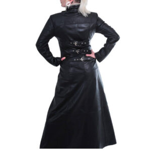 Black Leather Gothic Steampunk Long Tailor Coat
