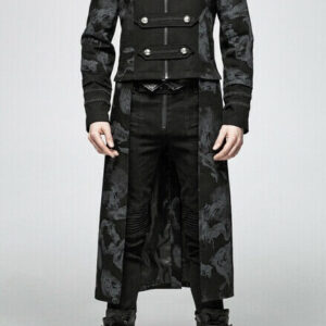 Black Military Convertible Gothic Dandy Dragons Coat
