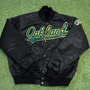 Black Oakland Vintage Satin Jacket