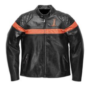Black Orange Harley Davidson Motorcycle Leather Jacket
