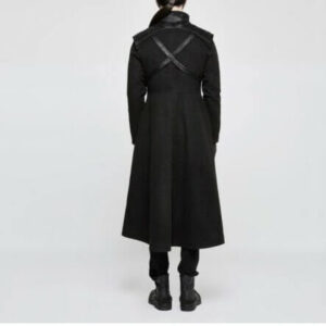 Black Punk Rave Gothic Metal Military Steampunk Coat