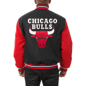 Black Red Chicago Bulls Wool Jacket
