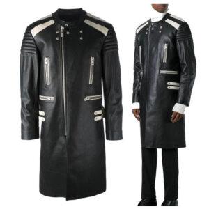 Black Steampunk Leather Long Coat