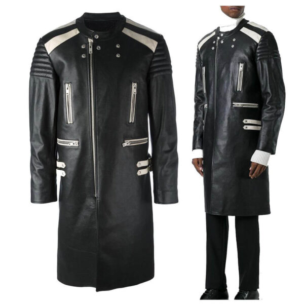 Black Steampunk Leather Long Coat