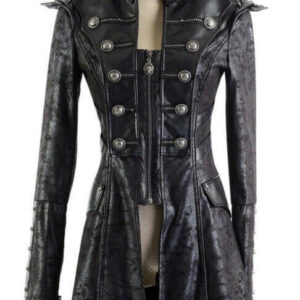 Black Steampunk Military Army Gothic Leather Coat