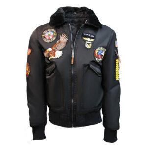 Black Top Gun American Bomber Jacket