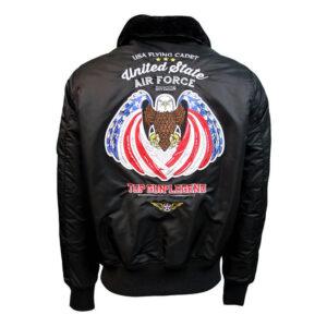 Black Top Gun Eagle II Bomber Jacket