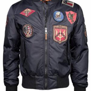 Black Top Gun Flight Bomber Jacket