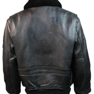 Black Top Gun Leather Bomber Jacket