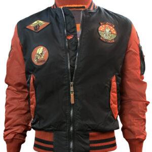 Black and Rust Top Gun Flight Bomber Jacket