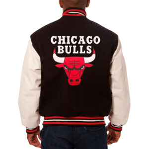 Black and White Chicago Bulls Varsity Jacket