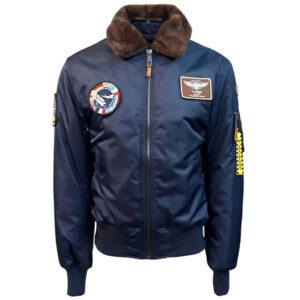 Blue Top Gun B 15 Satin Bomber Jacket