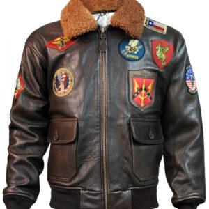 Brown Top Gun Leather Bomber Jacket