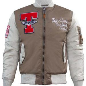 Brown Top Gun Stadium Varsity Jacket