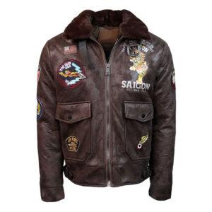 Brown Top Gun Victory Vintage Bomber Jacket
