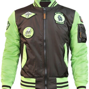 Brown and Green Top Gun Flight Bomber Jacket