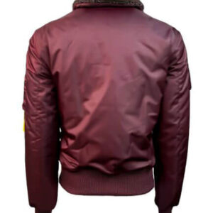 Burgundy Top Gun B 15 Satin Bomber Jacket