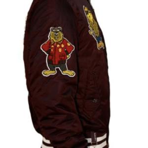 Burgundy Top Gun Champs Bomber Jacket
