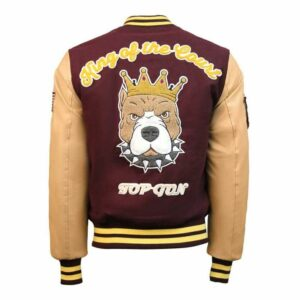 Burgundy Top Gun King Wool Bomber Jacket