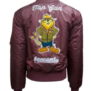 Burgundy Top Gun Tomcat Bomber Jacket