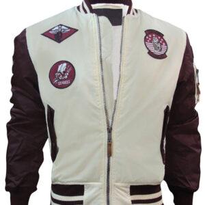 Burgundy and Cream Top Gun Flight Bomber Jacket