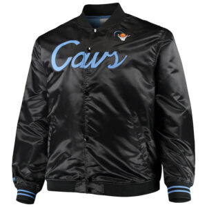 Cleveland Cavaliers Black Full Snap Satin Jacket