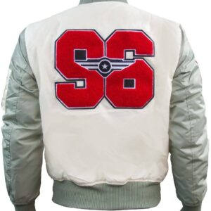 Cream Top Gun Stadium Varsity Jacket
