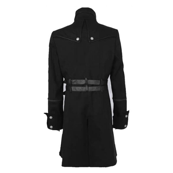 Double Breasted Belted Goth Fashion Trench Coat
