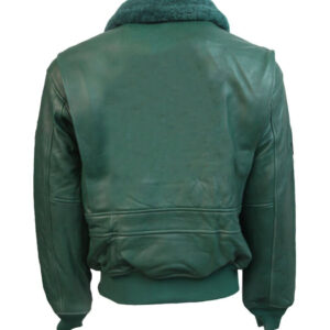 Green Top Gun Leather Bomber Jacket