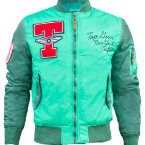 Green Top Gun Stadium Varsity Jacket