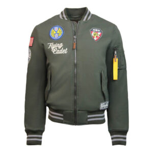 Green Top Gun Vietnam Cotton Canvas Bomber Jacket