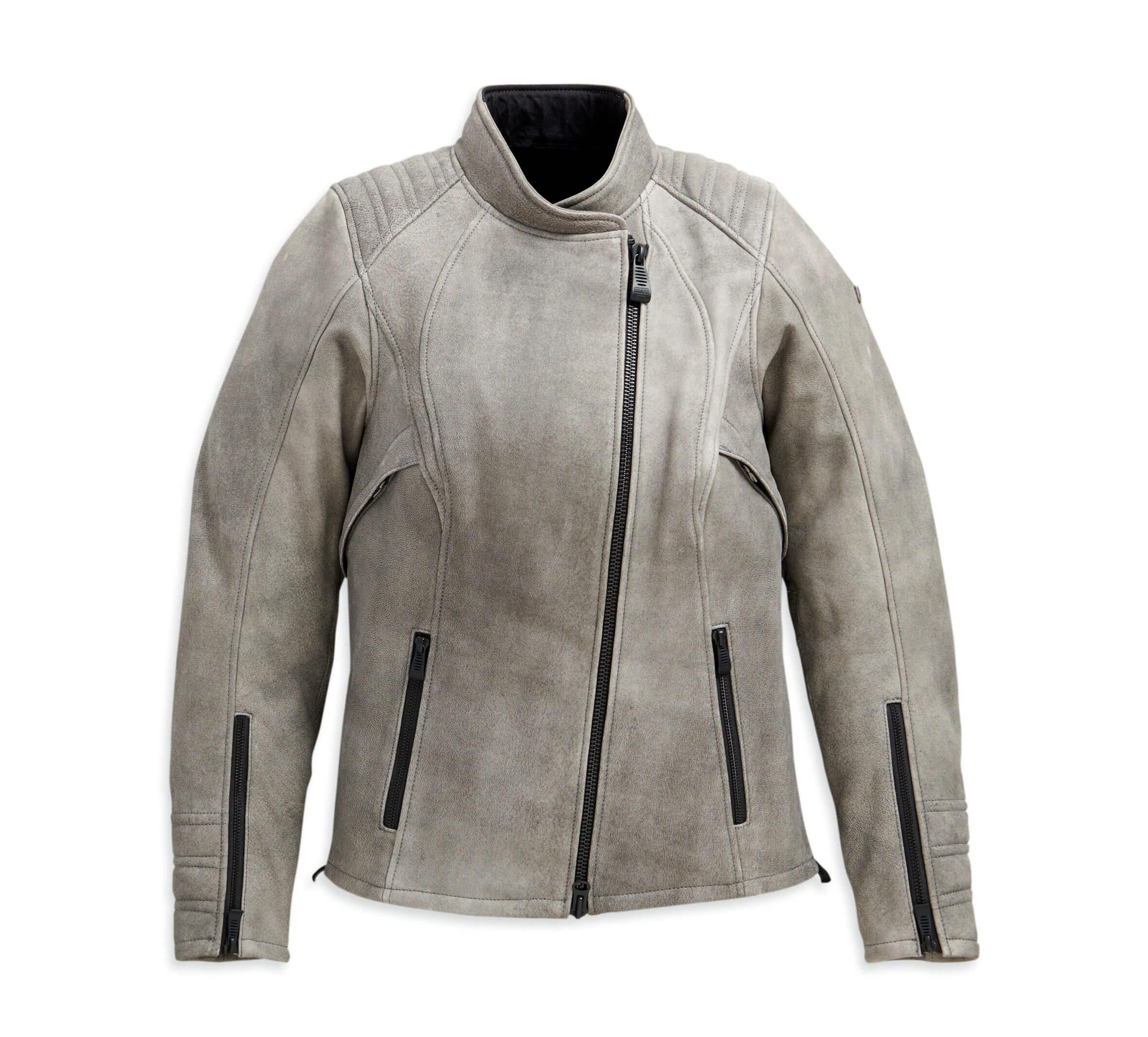 Grey Harley Davidson Motorcycle Leather Jacket