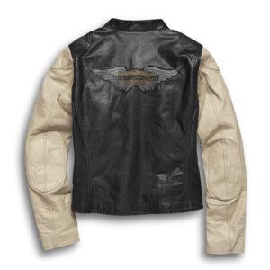 Harley Davidson Black Cream Motorcycle Leather Jacket