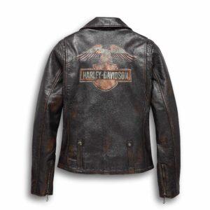 Harley Davidson Eagle Distressed Leather Biker Jacket