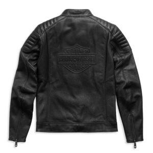 Harley Davidson Embossed Logo Padded Leather Jacket