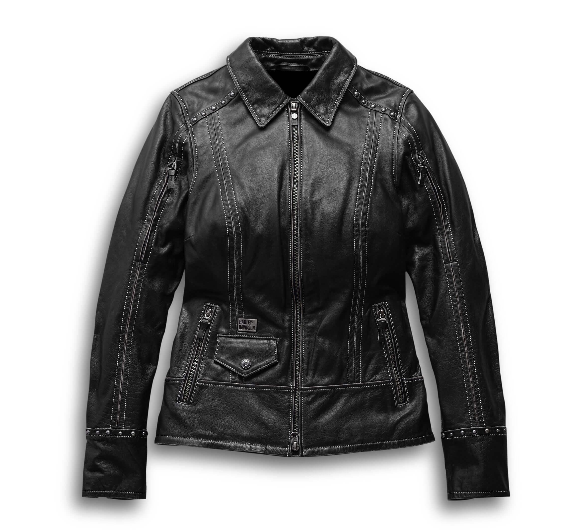 Harley Davidson Motorcycle Black Leather Jacket